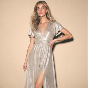 Champagne Shimmer Gown: Flutter Sleeves, Tie Waist